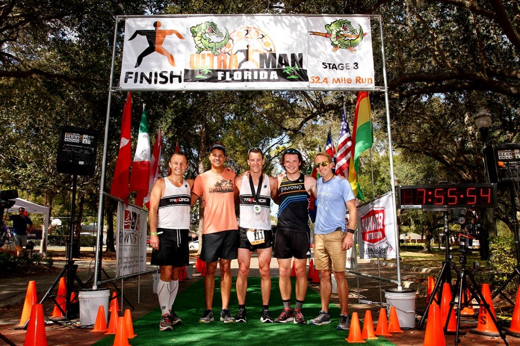 Rob Gray and the crew at the finish line of ultraman florida