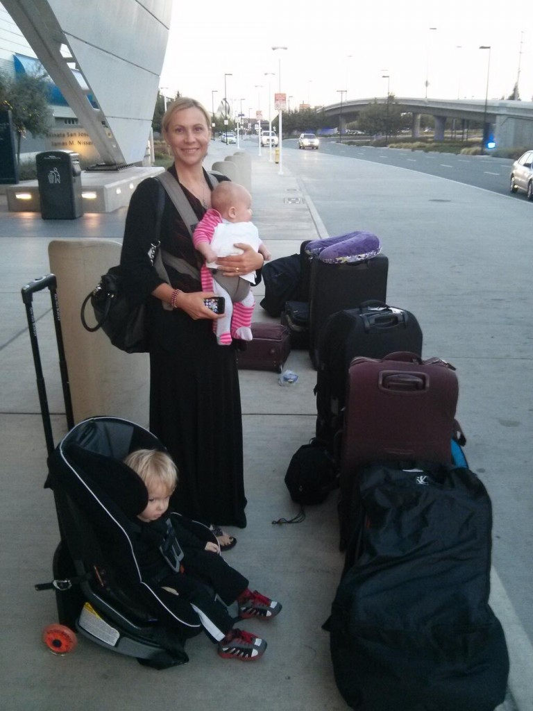 traveling with kids: only one of these bags is mine!